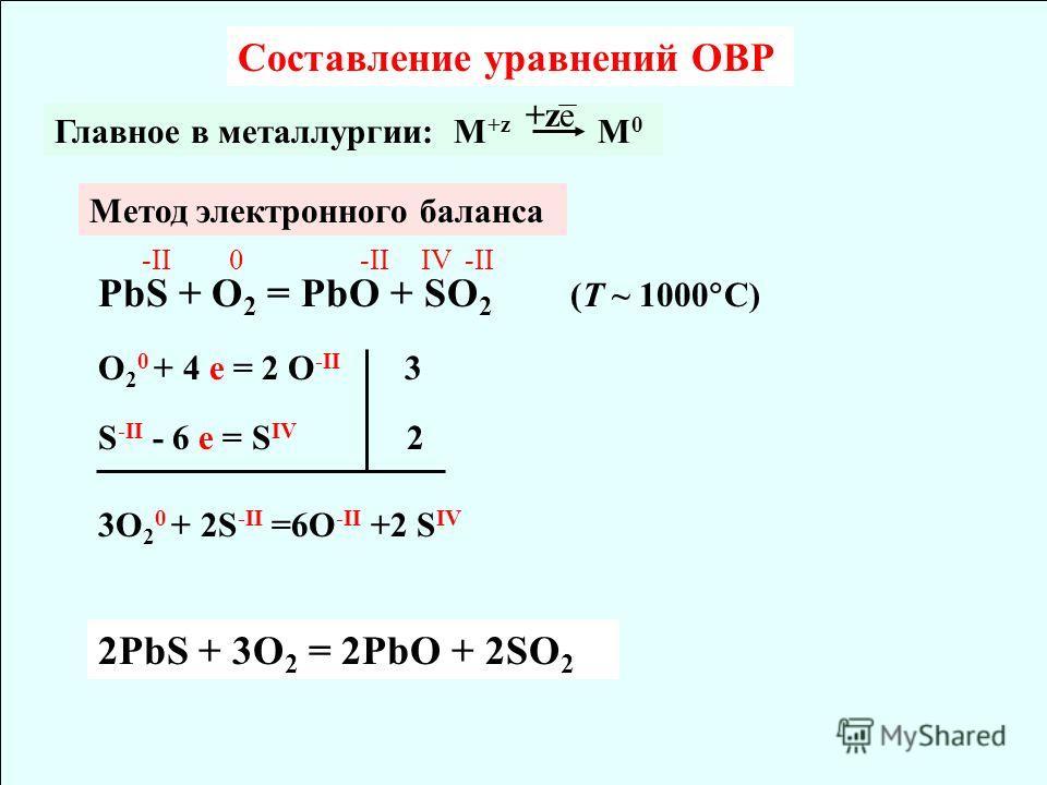 Составление уравнений ОВР Метод электронного баланса PbS + O 2 = PbO + SO 2 (T ~ 1000 C) Главное в металлургии: M +z M 0 +ze -II0 IV-II O 2 0 + 4 e = 2 O -II 3 S -II - 6 e = S IV 2 3O 2 0 + 2S -II =6O -II +2 S IV 2PbS + 3O 2 = 2PbO + 2SO 2