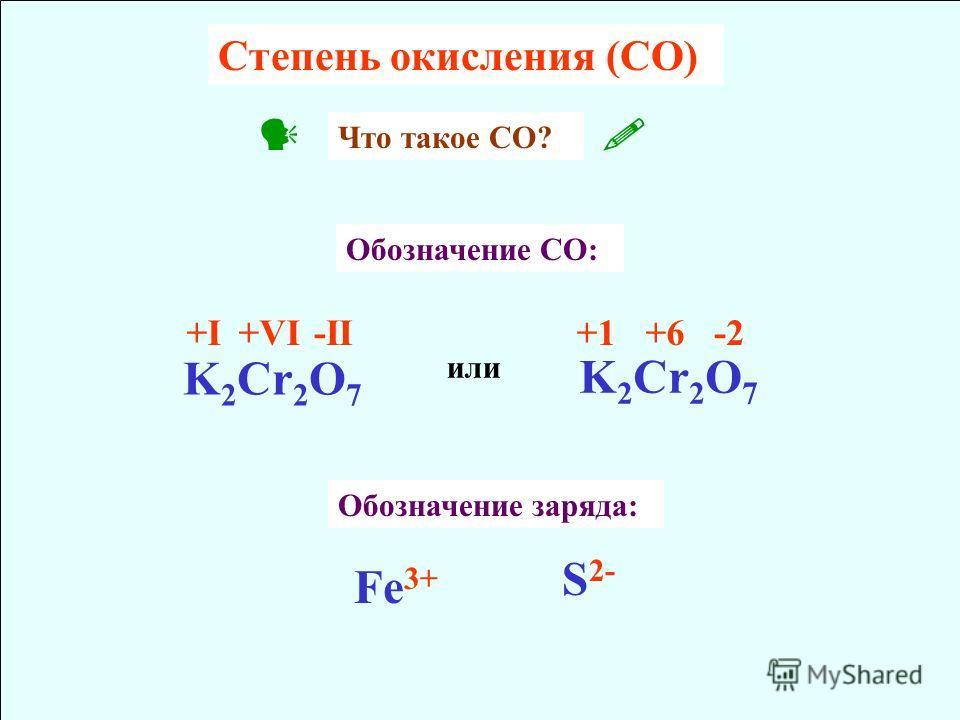Cтепень окисления (CO) K 2 Cr 2 O 7 +I+VI-II K 2 Cr 2 O 7 +1+6-2 или Обозначение CO: Что такое CО? Обозначение заряда: Fe 3+ S 2-