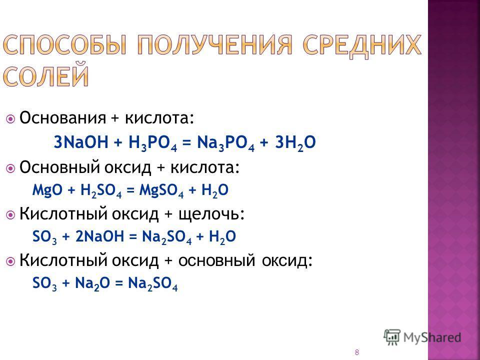 8 Основания + кислота: 3NaOH + H 3 PO 4 = Na 3 PO 4 + 3H 2 O Основный оксид + кислота: MgO + H 2 SO 4 = MgSO 4 + H 2 O Кислотный оксид + щелочь: SO 3 + 2NaOH = Na 2 SO 4 + H 2 O Кислотный оксид + о сновный оксид : SO 3 + Na 2 O = Na 2 SO 4