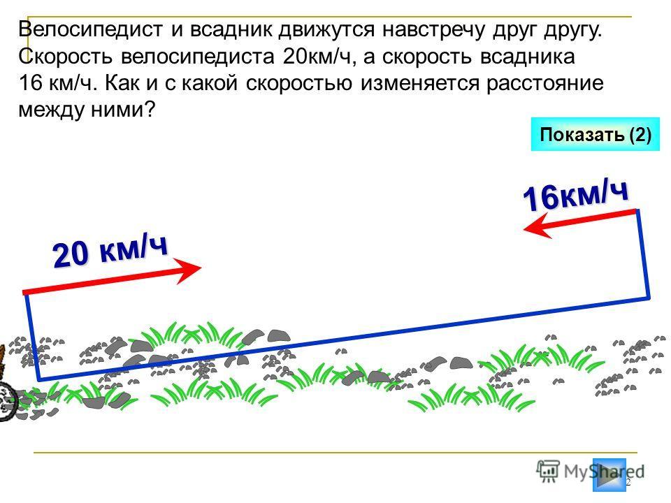 12 16км/ч Показать (2) Велосипедист и всадник движутся навстречу друг другу. Скорость велосипедиста 20км/ч, а скорость всадника 16 км/ч. Как и с какой скоростью изменяется расстояние между ними? 20 км/ч