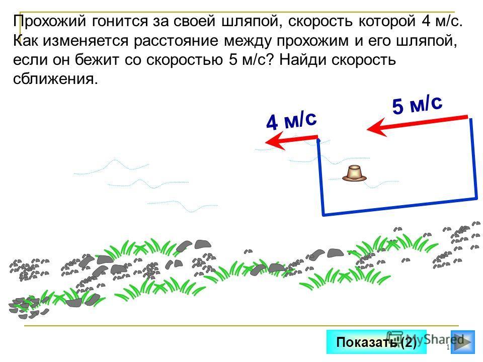 13 Показать (2) Прохожий гонится за своей шляпой, скорость которой 4 м/с. Как изменяется расстояние между прохожим и его шляпой, если он бежит со скоростью 5 м/с? Найди скорость сближения. 5 м/с4 м/с