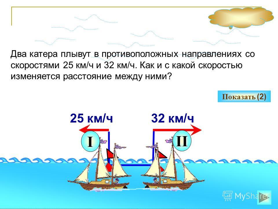 14 Два катера плывут в противоположных направлениях со скоростями 25 км/ч и 32 км/ч. Как и с какой скоростью изменяется расстояние между ними? Показать (2) 25 км/ч32 км/ч I II