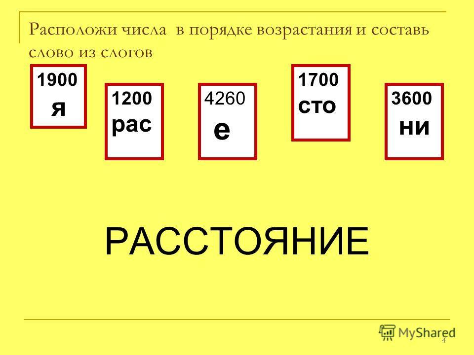 4 Расположи числа в порядке возрастания и составь слово из слогов РАССТОЯНИЕ 1900 я 1200 рас 4260 е 1700 сто 3600 ни