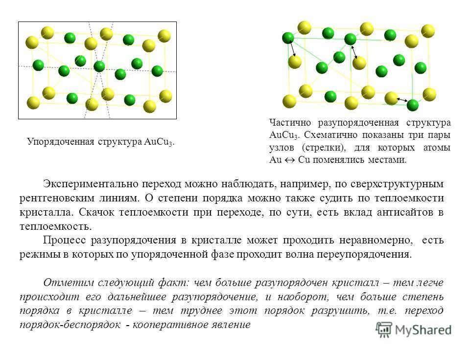 Частично разупорядоченная структура AuCu 3. Схематично показаны три пары узлов (стрелки), для которых атомы Au Cu поменялись местами. Упорядоченная структура AuCu 3. Экспериментально переход можно наблюдать, например, по сверхструктурным рентгеновски