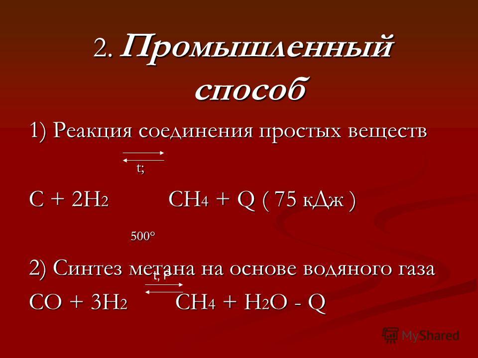 2. Промышленный способ 2. Промышленный способ 1) Реакция соединения простых веществ t; t; C + 2H 2 CH 4 + Q ( 75 кДж ) 500° 500° 2) Синтез метана на основе водяного газа CO + 3H 2 CH 4 + H 2 O - Q t; P