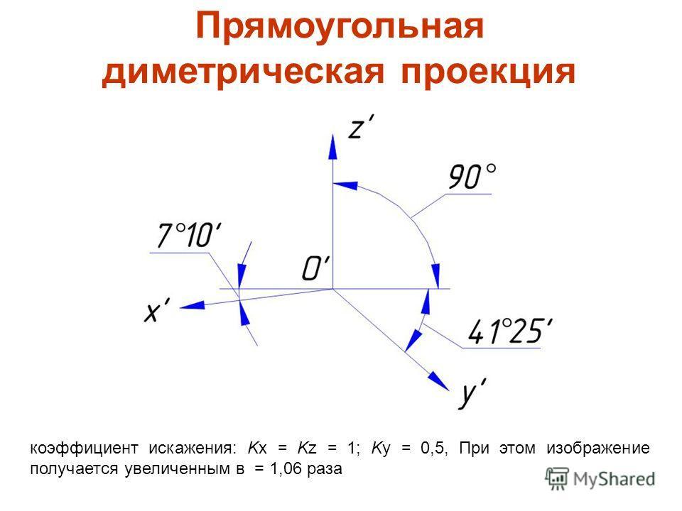 Прямоугольная диметрическая проекция коэффициент искажения: Kx = Kz = 1; Ky = 0,5, При этом изображение получается увеличенным в = 1,06 раза