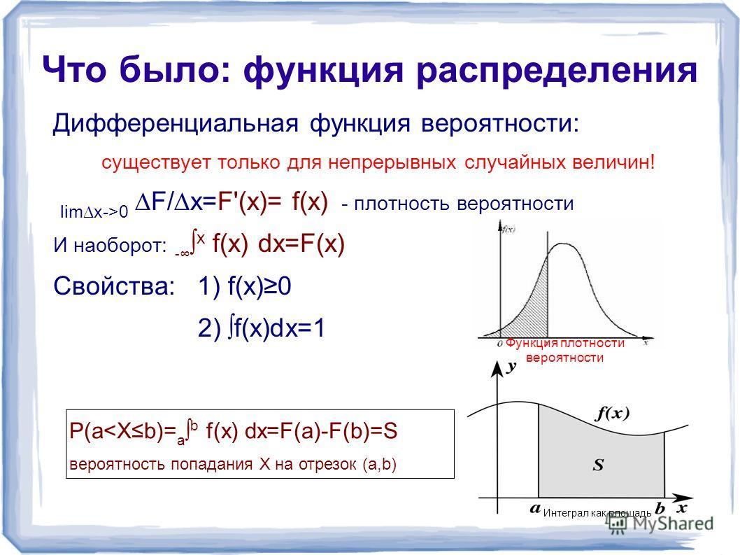 Что было: функция распределения Дифференциальная функция вероятности: существует только для непрерывных случайных величин! limx->0 F/x=F'(x)= f(x) - плотность вероятности И наоборот: - х f(x) dx=F(x) Свойства: 1) f(x)0 2) f(x)dx=1 P(a