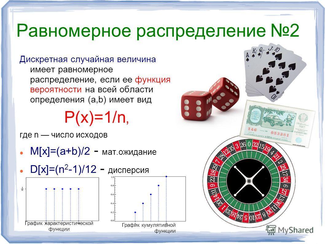 Равномерное распределение 2 Дискретная случайная величина имеет равномерное распределение, если ее функция вероятности на всей области определения (a,b) имеет вид P(x)=1/n, где n число исходов M[x]=(a+b)/2 - мат.ожидание D[x]=(n 2 -1)/12 - дисперсия