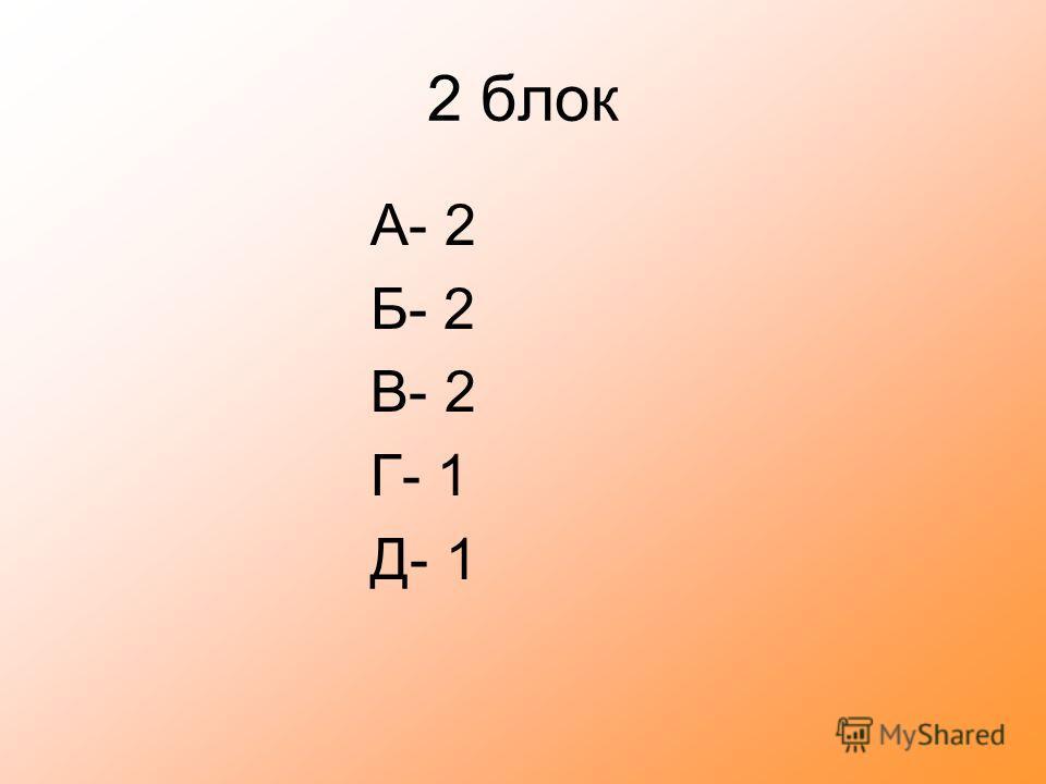 2 блок А- 2 Б- 2 В- 2 Г- 1 Д- 1