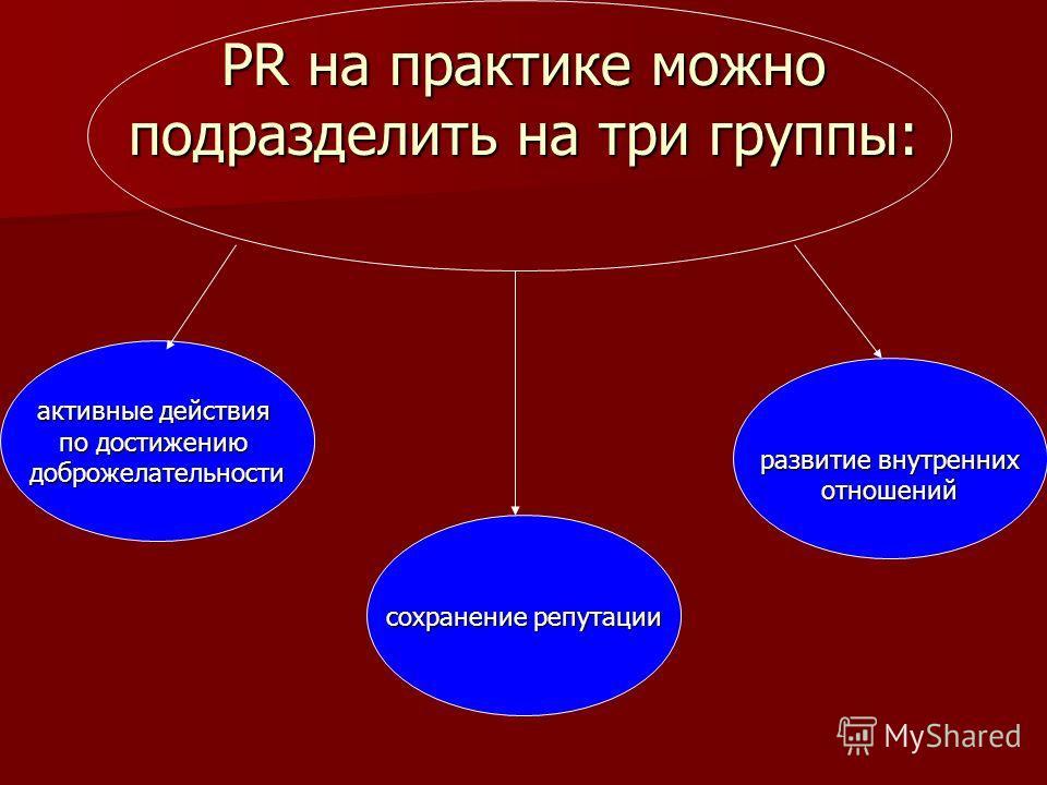 PR на практике можно подразделить на три группы: активные действия по достижению доброжелательности сохранение репутации развитие внутренних отношений