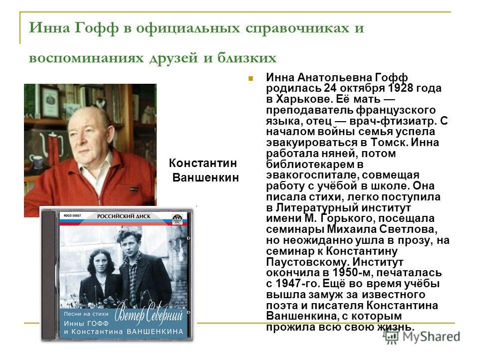 Инна Гофф в официальных справочниках и воспоминаниях друзей и близких Инна Анатольевна Гофф родилась 24 октября 1928 года в Харькове. Её мать преподаватель французского языка, отец врач-фтизиатр. С началом войны семья успела эвакуироваться в Томск. И