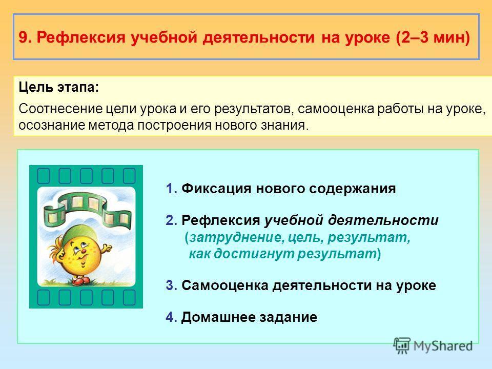 9. Рефлексия учебной деятельности на уроке (2–3 мин) Цель этапа: Соотнесение цели урока и его результатов, самооценка работы на уроке, осознание метода построения нового знания. 1. Фиксация нового содержания 2. Рефлексия учебной деятельности (затрудн