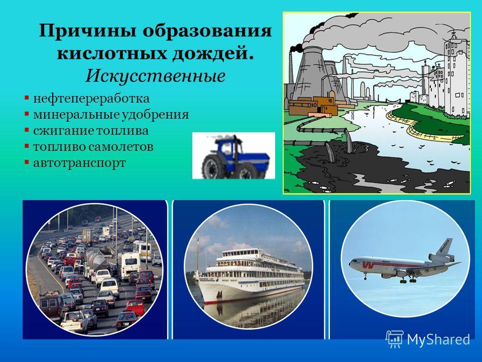 Причины образования кислотных дождей. Искусственные нефтепереработка минеральные удобрения сжигание топлива топливо самолетов автотранспорт