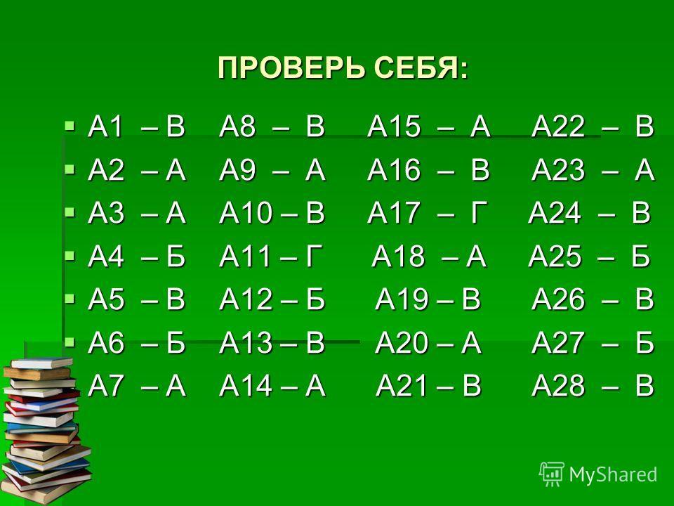 ПРОВЕРЬ СЕБЯ: А1 – В А8 – В А15 – А А22 – В А1 – В А8 – В А15 – А А22 – В А2 – А А9 – А А16 – В А23 – А А2 – А А9 – А А16 – В А23 – А А3 – А А10 – В А17 – Г А24 – В А3 – А А10 – В А17 – Г А24 – В А4 – Б А11 – Г А18 – А А25 – Б А4 – Б А11 – Г А18 – А