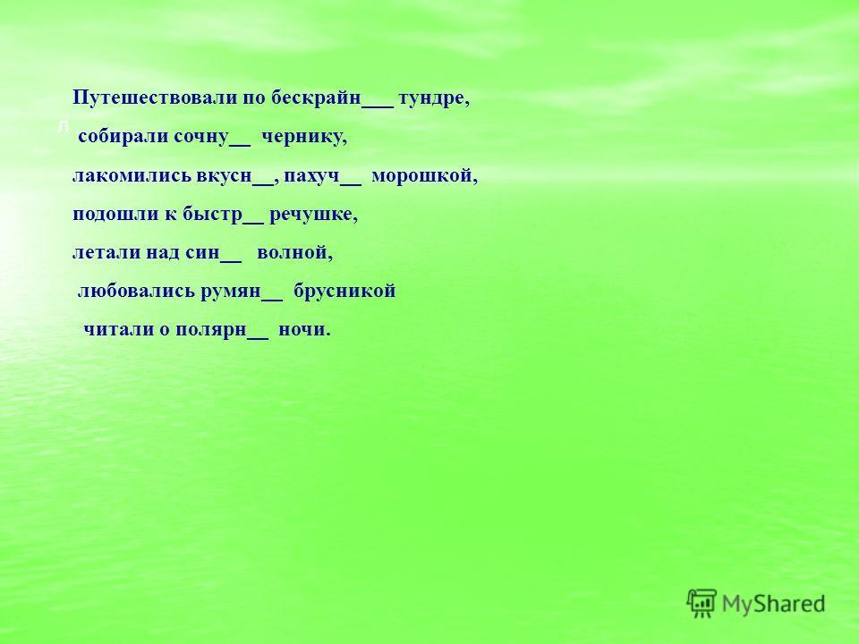 Путешествовали по бескрайн___ тундре, собирали сочну__ чернику, лакомились вкусн__, пахуч__ морошкой, подошли к быстр__ речушке, летали над син__ волной, любовались румян__ брусникой читали о полярн__ ночи. л