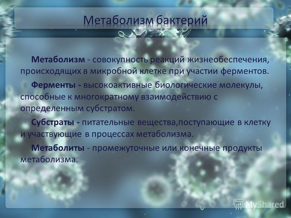 Метаболизм - совокупность реакций жизнеобеспечения, происходящих в микробной клетке при участии ферментов. Ферменты - высокоактивные биологические молекулы, способные к многократному взаимодействию с определенным субстратом. Субстраты - питательные в