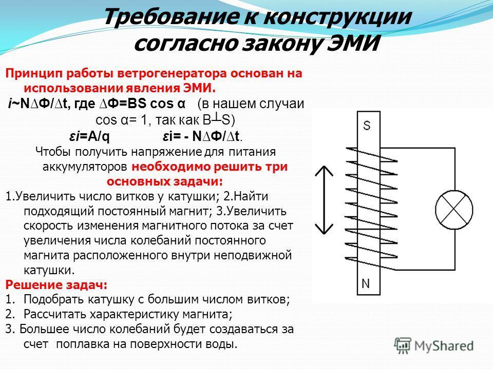 Принцип работы ветрогенератора основан на использовании явления ЭМИ. i~NФ/t, где Ф=ВS cos α (в нашем случаи cos α= 1, так как ВS) εi=А/q εi= - NФ/t. Чтобы получить напряжение для питания аккумуляторов необходимо решить три основных задачи: 1.Увеличит