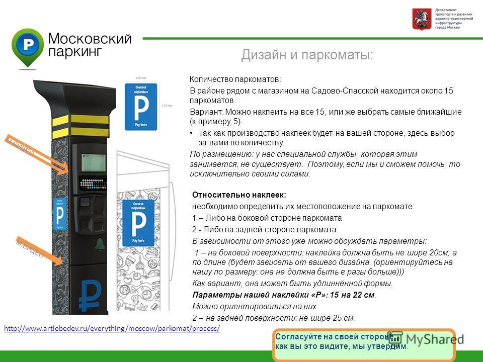 Дизайн и паркоматы: Количество паркоматов: В районе рядом с магазином на Садово-Спасской находится около 15 паркоматов. Вариант: Можно наклеить на все 15, или же выбрать самые ближайшие (к примеру, 5). Так как производство наклеек будет на вашей стор