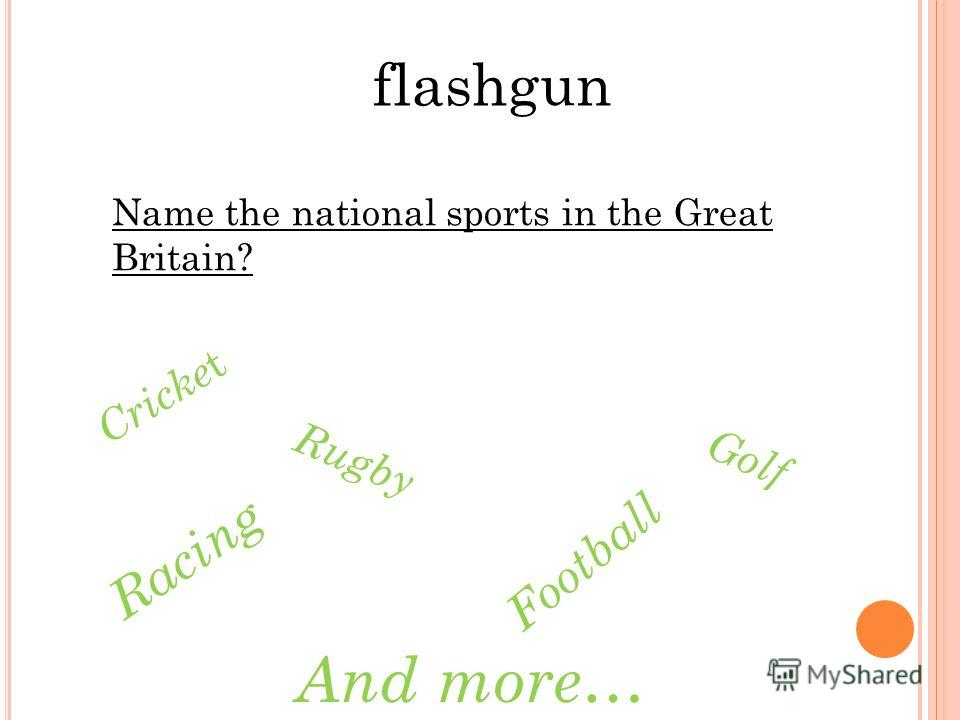 flashgun Name the national sports in the Great Britain? Cricke t Rugby Football Golf Racing And more…
