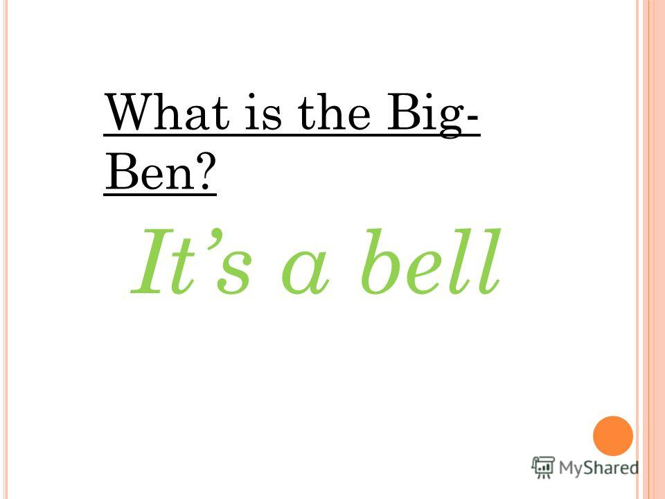 What is the Big- Ben? Its a bell