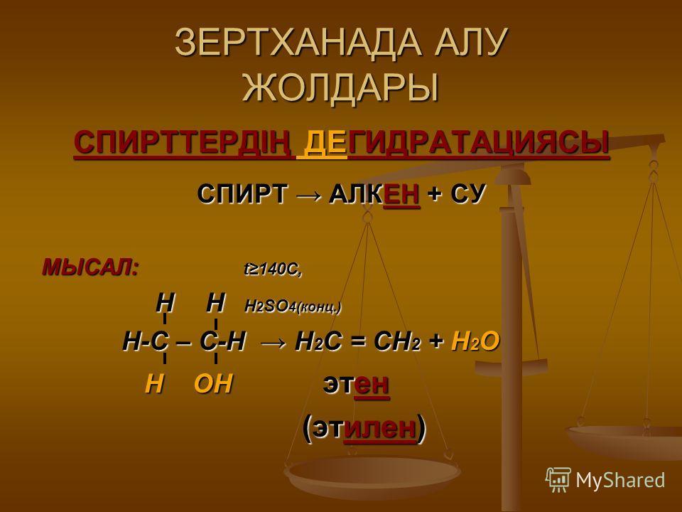 ЗЕРТХАНАДА АЛУ ЖОЛДАРЫ СПИРТТЕРДІҢ ДЕГИДРАТАЦИЯСЫ СПИРТ АЛКЕН + СУ МЫСАЛ: t140C, Н Н Н 2 SO 4(конц.) Н Н Н 2 SO 4(конц.) Н-С – С-Н Н 2 С = СН 2 + Н 2 О Н-С – С-Н Н 2 С = СН 2 + Н 2 О Н ОН этен Н ОН этен (этилен) (этилен)