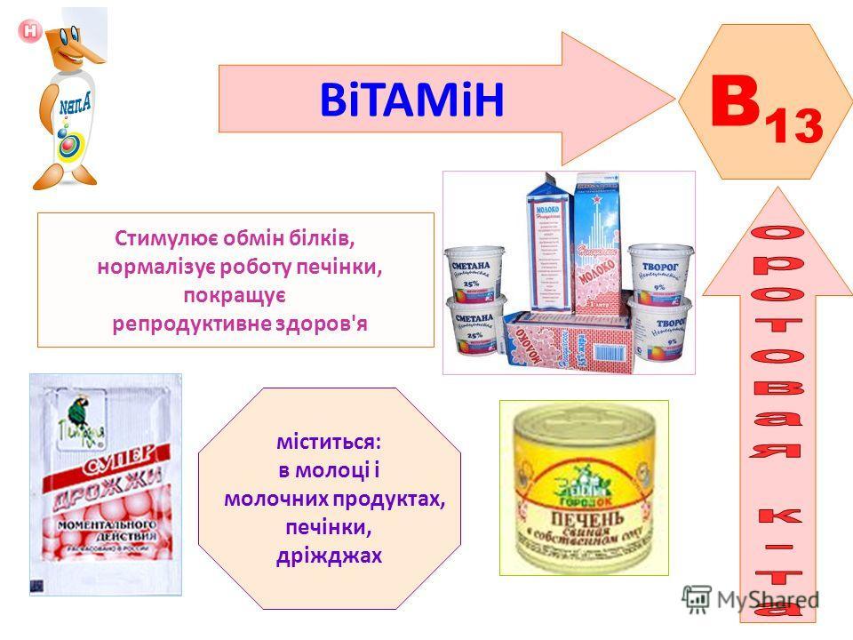 ВіТАМіН B 13 Стимулює обмін білків, нормалізує роботу печінки, покращує репродуктивне здоров'я міститься: в молоці і молочних продуктах, печінки, дріжджах