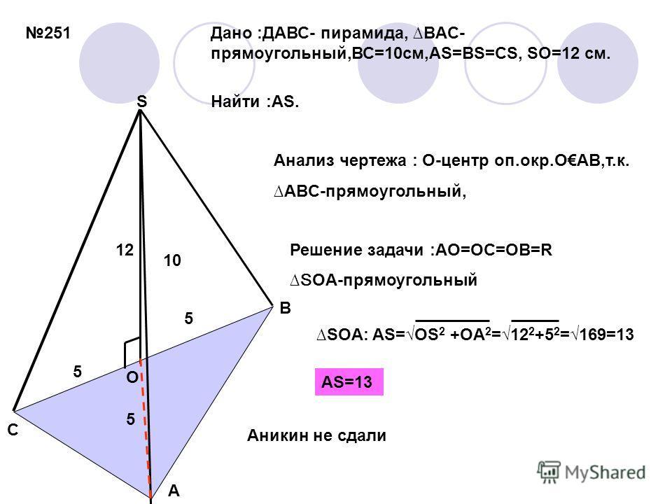 251 S A B C O Дано :ДАВС- пирамида, BAC- прямоугольный,ВС=10см,АS=BS=CS, SO=12 см. Найти :AS. Анализ чертежа : O-центр оп.окр.OAB,т.к. ABC-прямоугольный, Решение задачи :АО=ОС=ОВ= R SOA-прямоугольный 10 12 5 5 5 SOA: AS= OS 2 +OA 2 =12 2 +5 2 =169=13