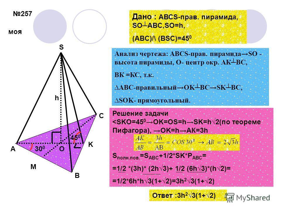 257 h 45 0 A B C S O K Анализ чертежа: АВСS-прав. пирамидаSО - высота пирамиды, О- центр окр. АКВС, ВК =КС, т.к. ABC-правильныйOKBCSKBC, SOK- прямоугольный. Дано : АВСS-прав. пирамида, SOABC,SO=h, (ABC)/\ (BSC)=45 0 Решение задачи