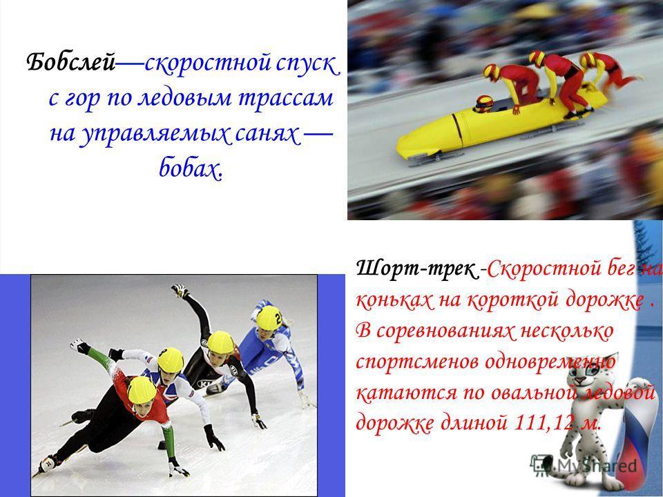 Бобслейскоростной спуск с гор по ледовым трассам на управляемых санях бобах. Шорт-трек -Скоростной бег на коньках на короткой дорожке. В соревнованиях несколько спортсменов одновременно катаются по овальной ледовой дорожке длиной 111,12 м.