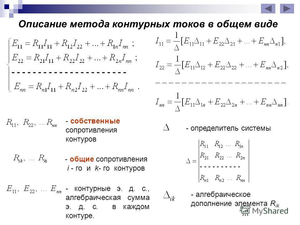 - общие сопротивления i - го и k- го контуров - собственные сопротивления контуров - контурные э. д. с., алгебраическая сумма э. д. с. в каждом контуре. Описание метода контурных токов в общем виде - определитель системы - алгебраическое дополнение э