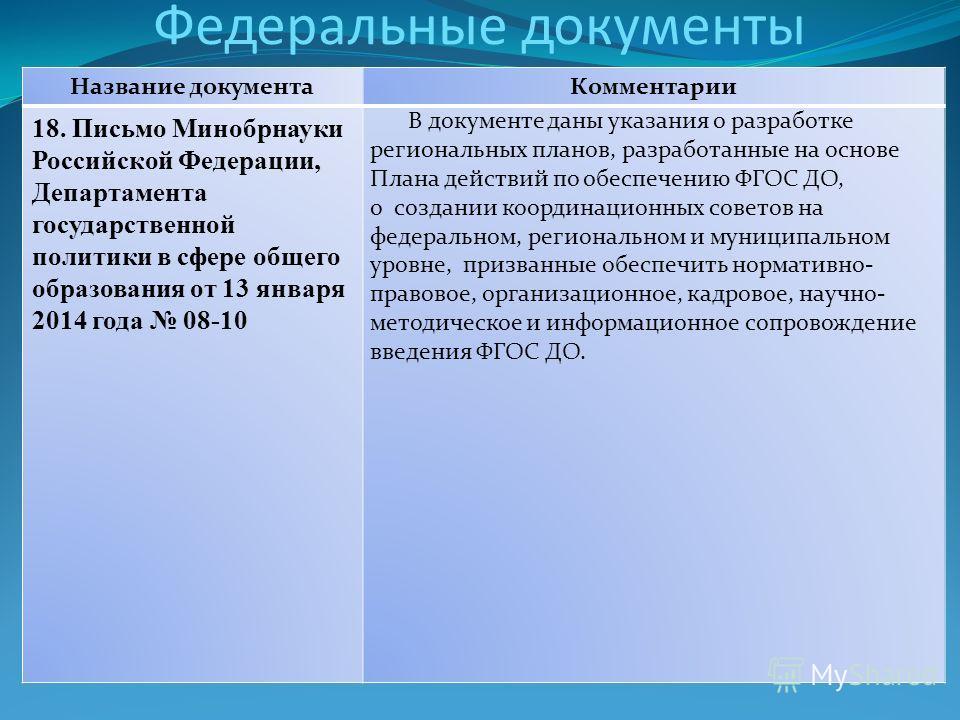 Федеральные документы Название документаКомментарии 18. Письмо Минобрнауки Российской Федерации, Департамента государственной политики в сфере общего образования от 13 января 2014 года 08-10 В документе даны указания о разработке региональных планов,