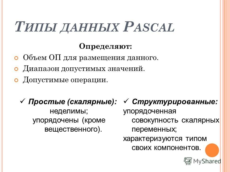 Т ИПЫ ДАННЫХ P ASCAL Определяют: Объем ОП для размещения данного. Диапазон допустимых значений. Допустимые операции. Простые (скалярные): неделимы; упорядочены (кроме вещественного). Структурированные: упорядоченная совокупность скалярных переменных;