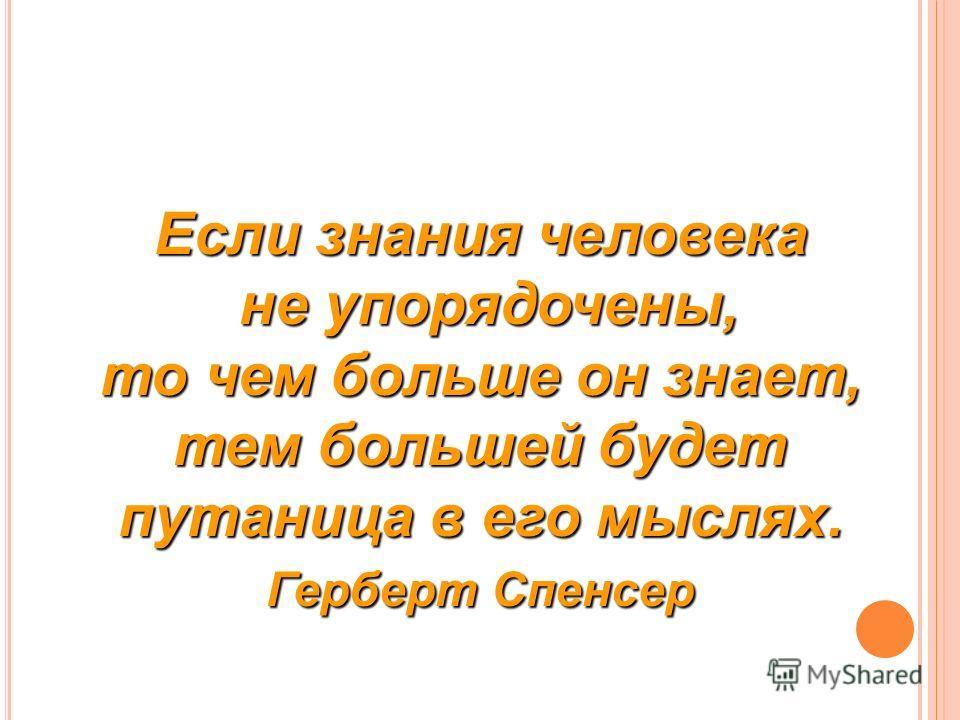 Если знания человека не упорядочены, то чем больше он знает, тем большей будет путаница в его мыслях. не упорядочены, то чем больше он знает, тем большей будет путаница в его мыслях. Герберт Спенсер