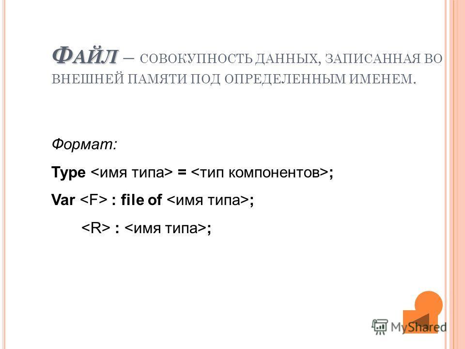 Ф АЙЛ Ф АЙЛ – СОВОКУПНОСТЬ ДАННЫХ, ЗАПИСАННАЯ ВО ВНЕШНЕЙ ПАМЯТИ ПОД ОПРЕДЕЛЕННЫМ ИМЕНЕМ. Формат: Type = ; Var : file of ; : ;
