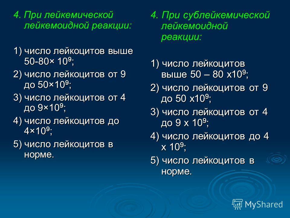 4. При лейкемической лейкемоидной реакции: 1) число лейкоцитов выше 50-80× 10 9 ; 2) число лейкоцитов от 9 до 50×10 9 ; 3) число лейкоцитов от 4 до 9×10 9 ; 4) число лейкоцитов до 4×10 9 ; 5) число лейкоцитов в норме. 4. При сублейкемической лейкемои