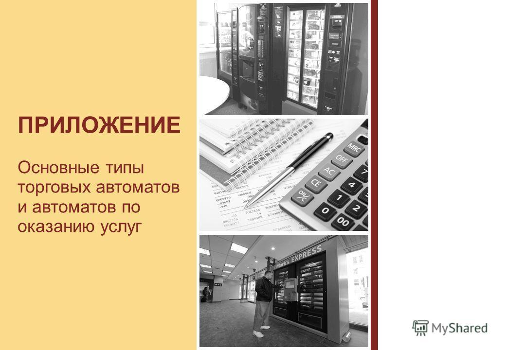 ПРИЛОЖЕНИЕ Основные типы торговых автоматов и автоматов по оказанию услуг