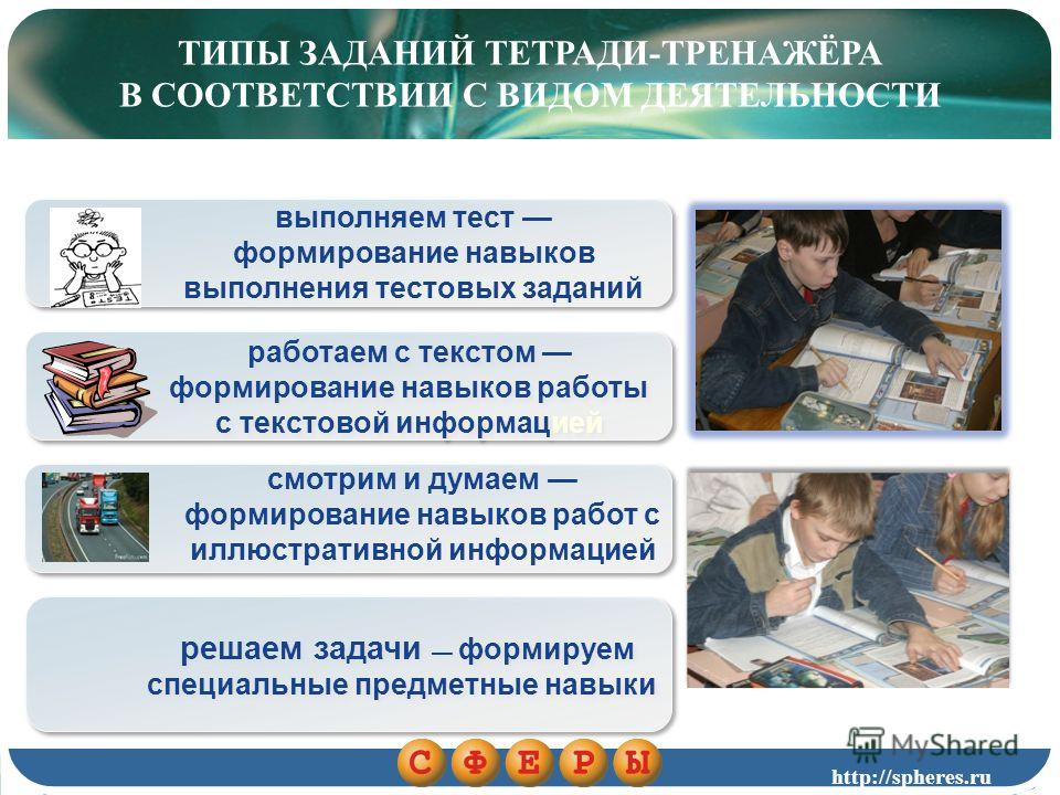 ТИПЫ ЗАДАНИЙ ТЕТРАДИ-ТРЕНАЖЁРА В СООТВЕТСТВИИ С ВИДОМ ДЕЯТЕЛЬНОСТИ выполняем тест формирование навыков выполнения тестовых заданий работаем с текстом формирование навыков работы с текстовой информацией работаем с текстом формирование навыков работы с