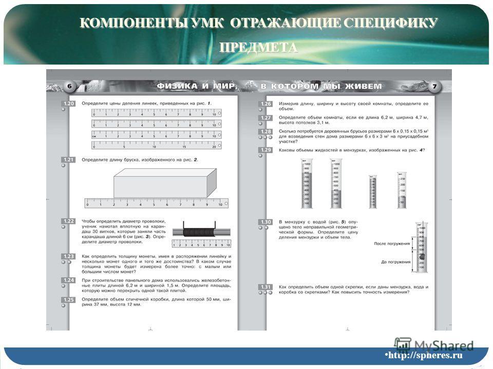 КОМПОНЕНТЫ УМК ОТРАЖАЮЩИЕ СПЕЦИФИКУ ПРЕДМЕТА http://spheres.ru