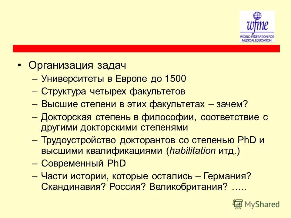 Организация задач –Университеты в Европе до 1500 –Структура четырех факультетов –Высшие степени в этих факультетах – зачем? –Докторская степень в философии, соответствие с другими докторскими степенями –Трудоустройство докторантов со степенью PhD и в