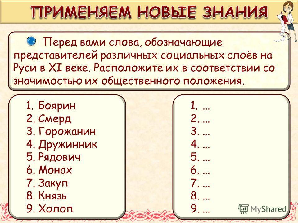 Перед вами слова, обозначающие представителей различных социальных слоёв на Руси в XI веке. Расположите их в соответствии со значимостью их общественного положения. 1.Боярин 2.Смерд 3.Горожанин 4.Дружинник 5.Рядович 6.Монах 7.Закуп 8.Князь 9.Холоп 1.