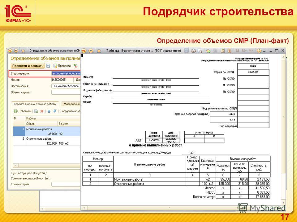 17 Определение объемов СМР (План-факт) Подрядчик строительства