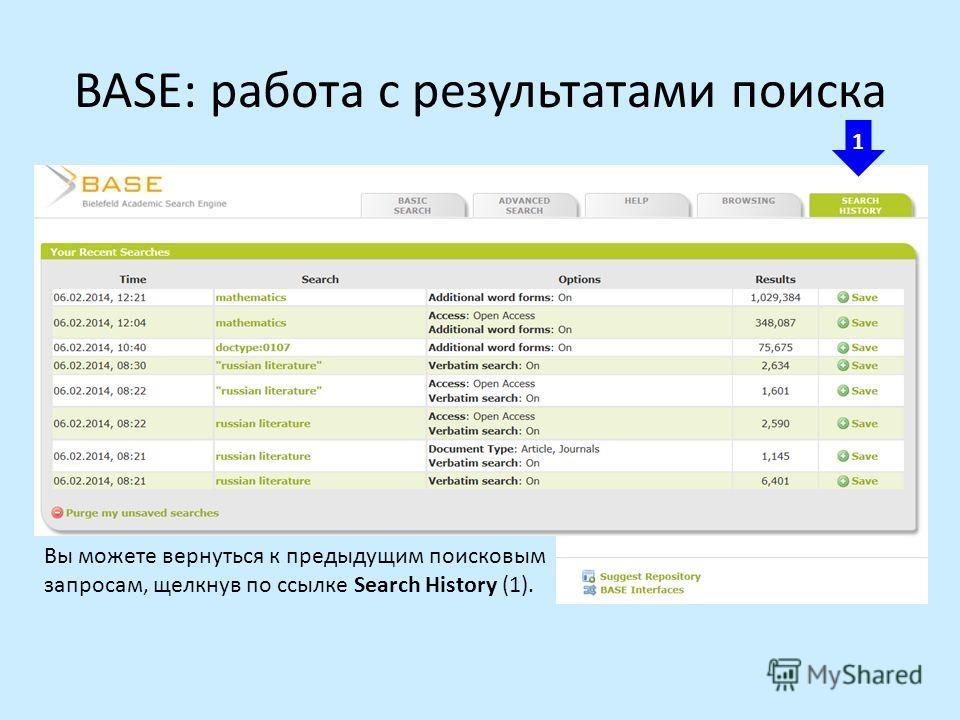 BASE: работа с результатами поиска 1 Вы можете вернуться к предыдущим поисковым запросам, щелкнув по ссылке Search History (1).