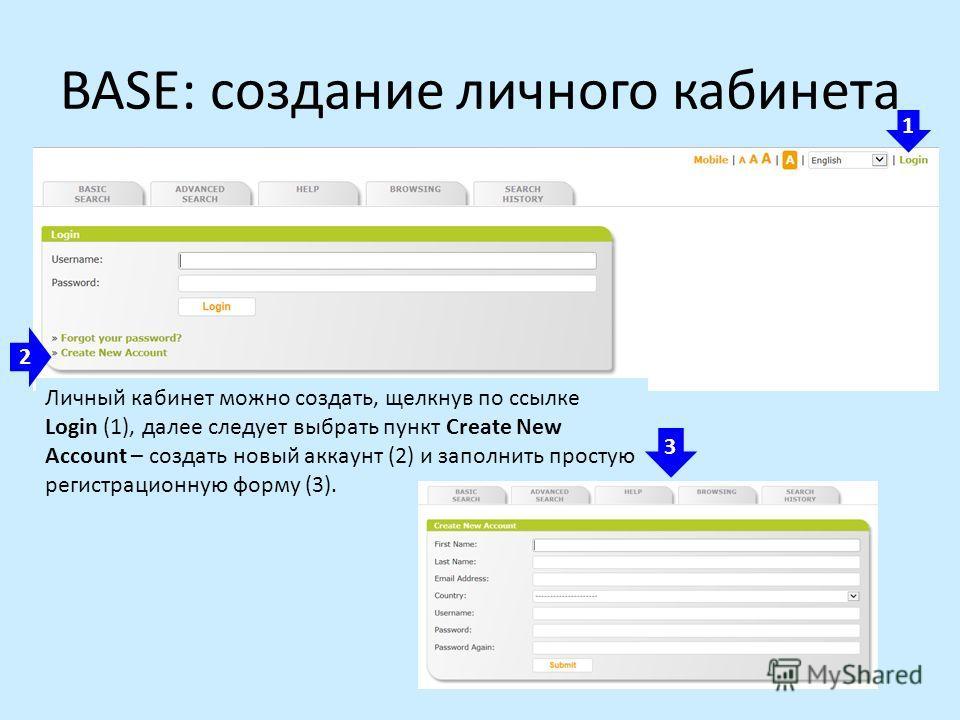 BASE: создание личного кабинета 1 2 Личный кабинет можно создать, щелкнув по ссылке Login (1), далее следует выбрать пункт Create New Account – создать новый аккаунт (2) и заполнить простую регистрационную форму (3). 3