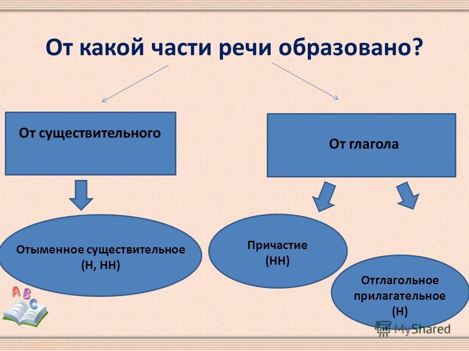 От какой части речи образовано? От существительного От глагола Отыменное существительное (Н, НН) Причастие (НН) Отглагольное прилагательное (Н)
