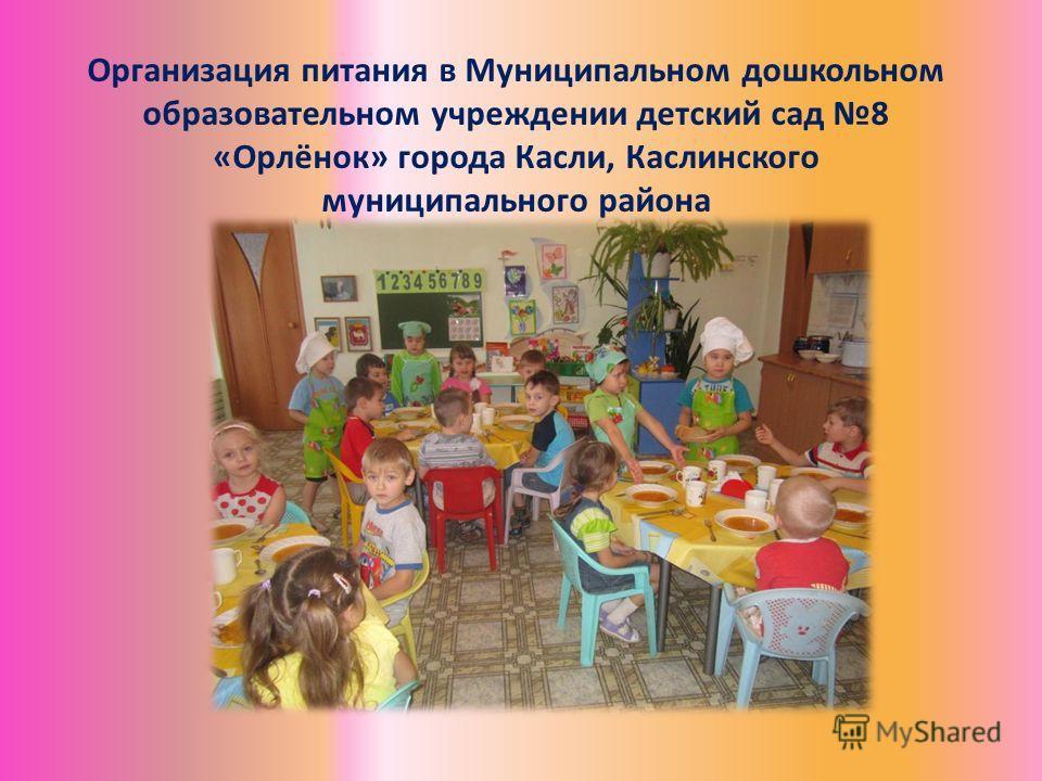 Организация питания в Муниципальном дошкольном образовательном учреждении детский сад 8 «Орлёнок» города Касли, Каслинского муниципального района