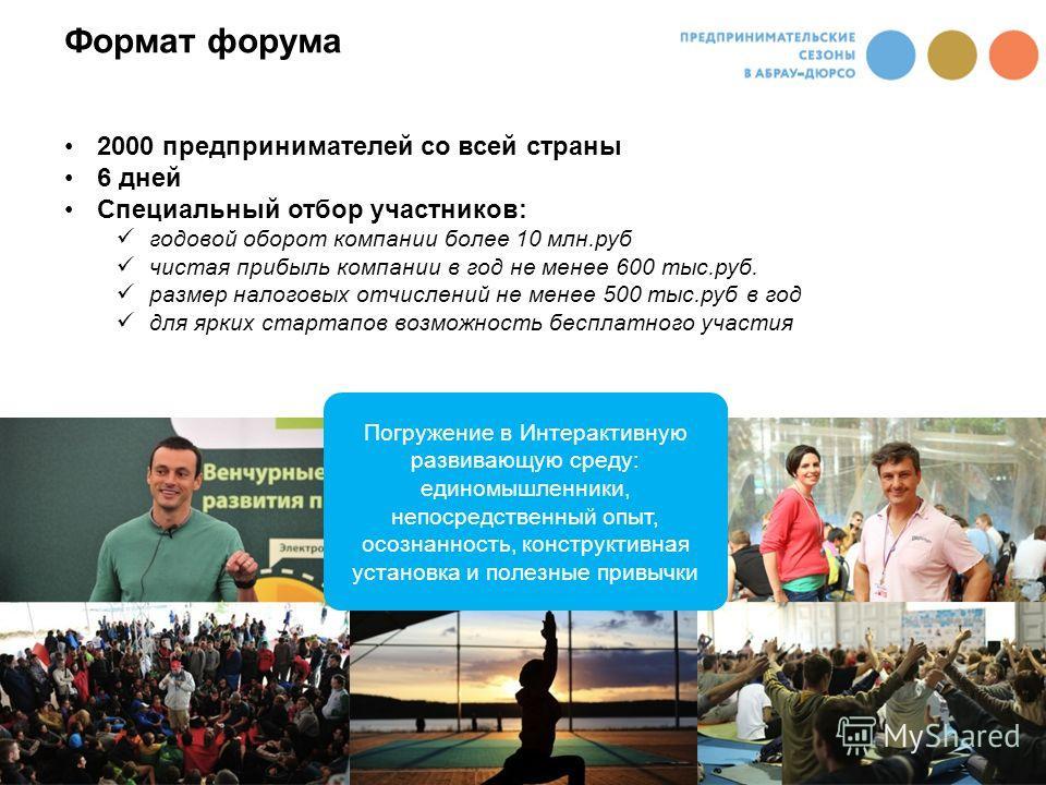 2000 предпринимателей со всей страны 6 дней Специальный отбор участников: годовой оборот компании более 10 млн.руб чистая прибыль компании в год не менее 600 тыс.руб. размер налоговых отчислений не менее 500 тыс.руб в год для ярких стартапов возможно