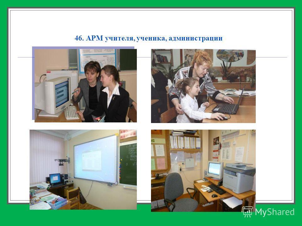 46. АРМ учителя, ученика, администрации
