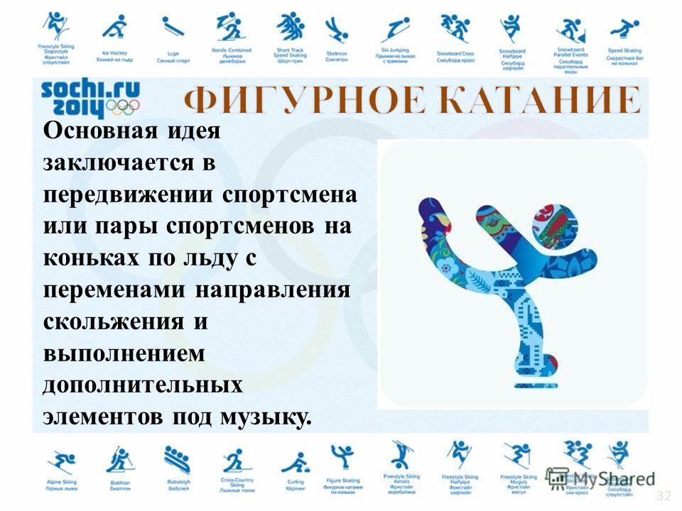 Основная идея заключается в передвижении спортсмена или пары спортсменов на коньках по льду с переменами направления скольжения и выполнением дополнительных элементов под музыку. 32