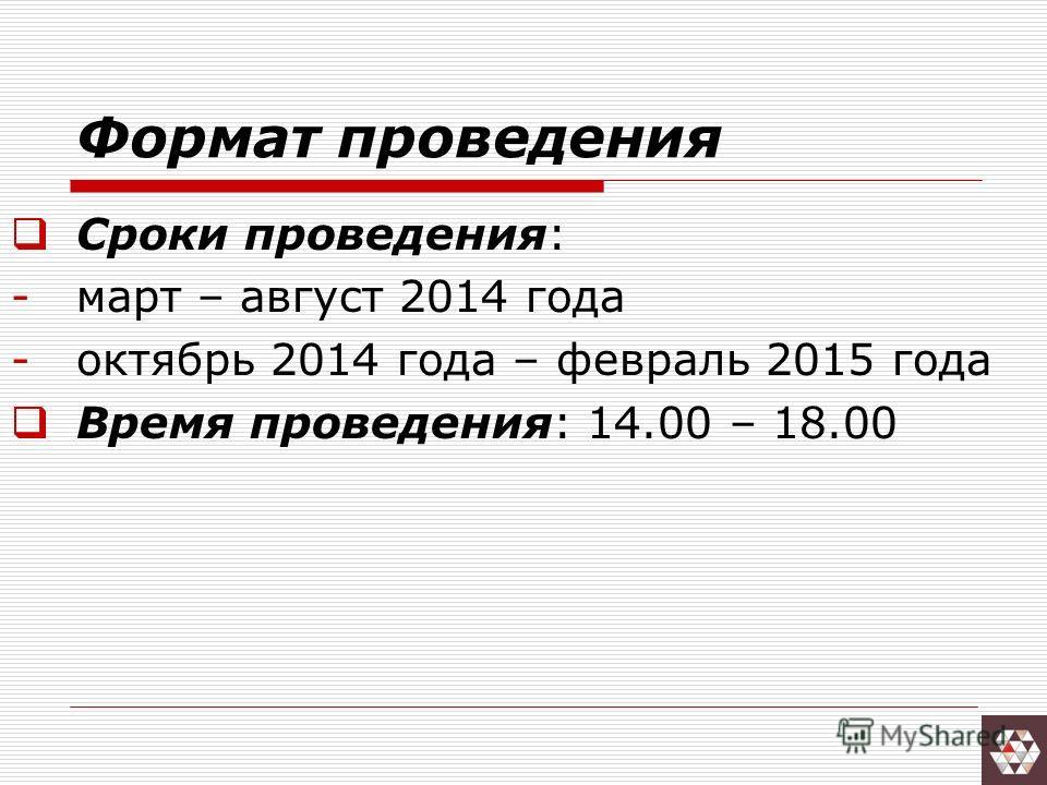 Формат проведения Сроки проведения: -март – август 2014 года -октябрь 2014 года – февраль 2015 года Время проведения: 14.00 – 18.00