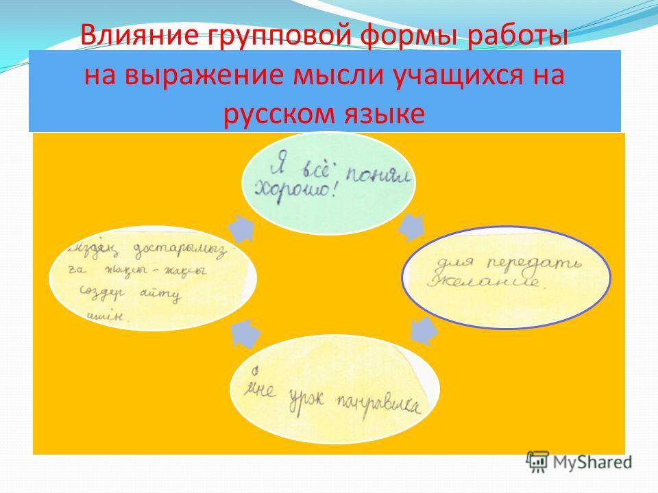 Влияние групповой формы работы на выражение мысли учащихся на русском языке